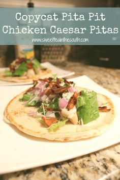 Learn how to make your own Copycat Pita Pit Chicken Caesar Pitas