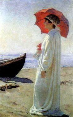 Laurits Tuxen - Nina, the Artist's Daughter, on the Beach - 1915