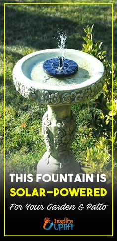 Solar Garden Fountain 😍  The Solar Water Fountain can be used anywhere and runs off solar power, this means no maintenance, ugly wires or set up, making it perfect for any backyard, garden or home this Spring and Summer!  Currently 50% OFF with FREE Shipping!