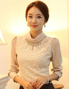b57788f4515 Korean Style Lace Diamond Necklace Bottoming Blouse-- Click on the picture  to order it gt