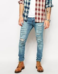 Charcoal Ripped Spray On Skinny Jeans - TOPMAN | Clothes
