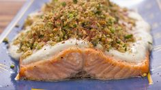 Salmon with Yoghurt and Walnut Sauce