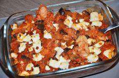 Gratin de pâtes au chèvre, thon, aubergine et tomate – Liv and Cook