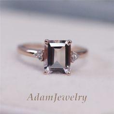 Ebay Morganite emerald cut engagement ring