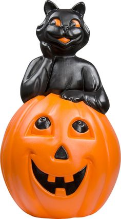cat on pumpkin blow mold halloween decoration perfect for walk way illumination
