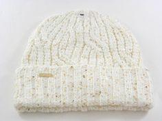 16ade8aae15 Calvin Klein Cuff Fold Shinny Sparkle Gold Ivory Acrylic Men s Women s  Winter Beanie Hat -