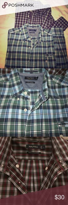 Nautica Long sleeve button down 💋 Dry cleaned! Perfect 💯 condition! Green\blue: A bit trimmer. Maroon/black : wrinkle resistant. Button down ! Both Large Nautica Shirts Casual Button Down Shirts