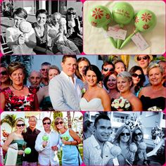 "Bucerias Wedding ""Lisa & Joey"" #WeddingMaracas great idea for wedding favors! pistachio-poise colors ! Flowers design simple and pretty !!!"