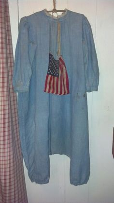 Antique childs blue romper adorned with old glory