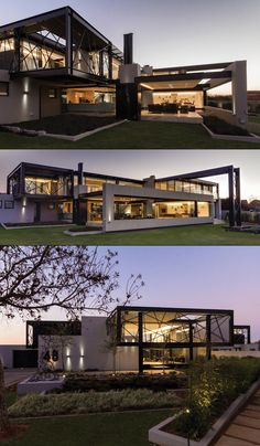 - House, room and garden - Arquitetura Modern Architecture House, Architecture Design, Modern Villa Design, Design Exterior, Casas Containers, Luxury Homes Dream Houses, Modern Mansion, Container House Design, Dream House Exterior
