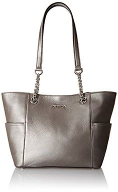 Women's Shoulder Bags - Calvin Klein Pebble Leather Chain Tote Bag Eclipse One Size * See this great product.