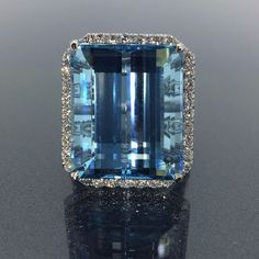 GIA Certified 18k gold Natural Dark Blue Aquamarine & Diamond ring 24.88ct VIDEO #HALO