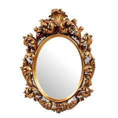 """An elaborate resin rococo style frame with an antiqued gold finish surround a 1"""" bevelled mirror."""
