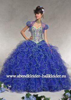 Abend - Ballkleid in Dunkel Blau mit Perlen Stick und Kontrast Nähte