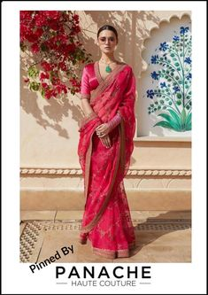 Hot Pink Organza Saree from Sabyasachi's 2019 Spring / Summer Collection. For customisation please contact our sales team through WhatsApp Dress Indian Style, Indian Dresses, Indian Outfits, Indian Clothes, Ethnic Outfits, Trendy Outfits, Sabyasachi Sarees, Indian Sarees, Bollywood Saree