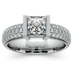 There's nothing quite like the shimmering brilliance of the stunning Half Bezel Diamond Engagement Ring in sleek Platinum, featuring a Princess-cut center. Pop the question with this gorgeous, sturdy ring... your beloved won't be able to say no!  http://www.brilliance.com/engagement-rings/half-bezel-diamond-ring-platinum-3/8-ctw