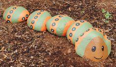 Caterpillar Hiding Rocks, Craft Day, Lady Bugs, Pebble Art, Stone Art, Caterpillar, Rock Painting, Garden Art, Painted Rocks