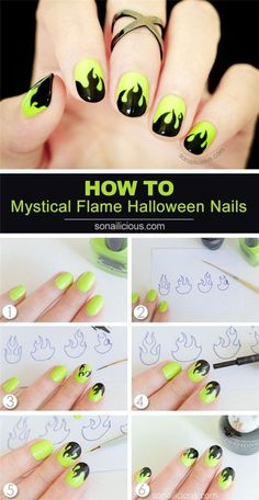 Step-by-Step Halloween Nail Art Design Tutorials Mystical Flame Halloween Nails. Nail Art Diy, Cool Nail Art, Easy Nail Art, Nail Art Designs, Design Art, Design Ideas, Flame Nail Art, Gothic Nails, Fire Nails
