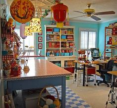 So quirky, colorful and happy. Colorful home studio
