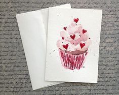 Valentines Cupcake Card - watercolor this is cute :) Valentines Watercolor, Valentines Art, Watercolor Cards, Valentine Day Cards, Cupcake Drawing, Art Carte, Homemade Cards, Diy Art, Card Making