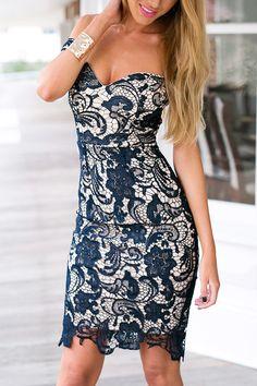 Военно-морской флот Sweetheart Body-Сознательное кружева мини-платье - US$23.95 -YOINS