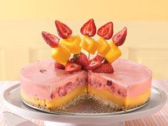 Strawberry-Mango Margarita Dessert with tropical fruit filling and salty pretzel crust