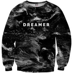 Mr. Gugu & Miss Go Dreamer Printed Polyester Sweatshirt ($50) ❤ liked on Polyvore featuring tops, hoodies, sweatshirts, sweaters, long sleeves, shirts, multi, unisex shirts, long sleeve polyester shirt and polyester sweatshirt