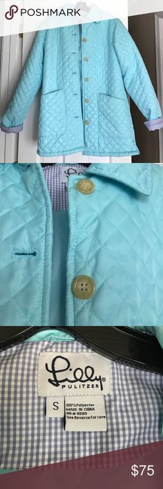 Lilly Pulitzer robins egg blue Quilted jacket coat Lilly Pulitzer Quilted jacket coat in a pretty robins eggs blue/light turquoise color with a blue gingham inside the sleeve that can be rolled up and shown. This jacket has a small spot on the back (photo) but would probably come out with cleaning. Otherwise it is like new and a great coat for spring! Size small Lilly Pulitzer Jackets & Coats