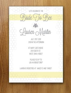 Bridal Shower  Bride to Bee Invitation  Printable by lindenlime,