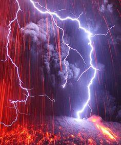 Lightning falling on the very active Japanese volcano Sakurajima | by photographer Martin Rietze