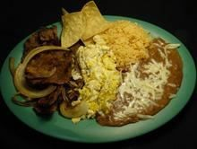 Steak And Eggs:Come with 2 steaks, 2 eggs and grilled onions from Pico Pica Rico Restaurant in Los Angeles #Food #Egg #Restaurant forked.com