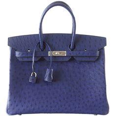 Preowned Hermes Birkin 35 Bag Bleu Iris Ostrich Palladium ($54,500) ❤ liked on Polyvore featuring purple