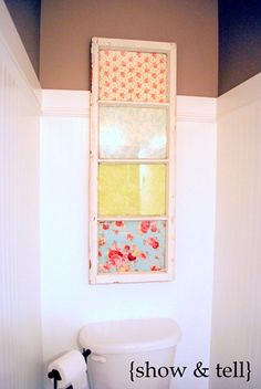 Saw this at the craft show today. CUTE! Modge-Podge fabric behind vintage window,