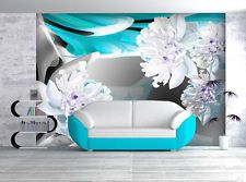Wallpaper Wall Mural Wall Poster flower abstract teal grey 250 cm x 350 cm