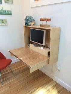 Joinery storage piano hinge & magnets Custom wood fold-down desk