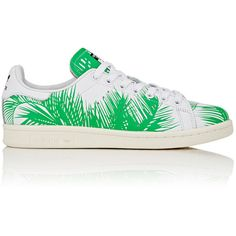 adidas Women's Women's Stan Smith Palm Tree Sneakers (12.950 RUB) ❤ liked on Polyvore featuring shoes, sneakers, green, adidas, round toe sneakers, lacing sneakers, lace up sneakers and stripe shoes