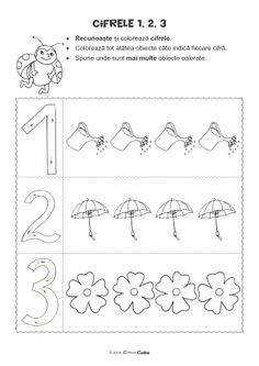 Fise de Lucru - Editura Caba - Carti, caiete de lucru, materiale didactice Preschool Activities At Home, Numbers Preschool, Kindergarten Worksheets, Worksheets For Kids, Printable Flower Coloring Pages, Experiment, Math For Kids, Kids Education, Kids And Parenting