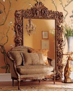 Vintage Old World....This oversized wall mirror would be perfect beside my grand piano, with my chair in front of it.