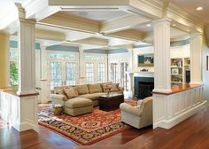 Soderholm-Family-Room by Boston Design Guide.  Gorgeous camphored ceiling.