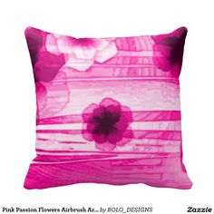 Pink Passion Flowers Airbrush Art Throw Pillow