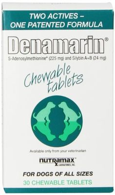 Nutramax Denamarin Chewables, 30 Count - Denamarin Chewable Tablets by Nutramax combine S-Adenosylmethionine and silybin, which support your dog's liver healthand produce revolutionary results. Get started by picking up a pack of Denamarin Chews today and protect your dog's liver's health.