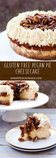 This Gluten Free Pecan Pie Cheesecake is a gluten free pecan and walnut crust with creamy baked vanilla cheesecake, a bourbon pecan pie topping and bourbon brown sugar whipped cream. So delicious and so easy to make! #food #dessert | Posted By: DebbieNet.com