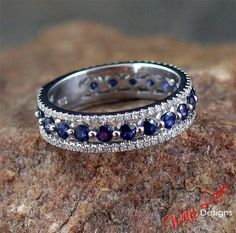 Sapphire & Diamond Almost Eternity Wedding Band Ring Triple 3