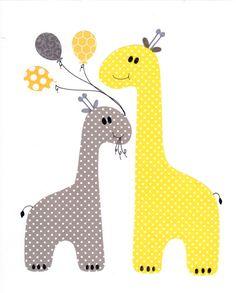 Amarillo y gris vivero ilustraciones Print / / decoración de la habitación del bebé / niños de habitaciones decoración / / amarillo y gris vivero / / regalos menores de 20