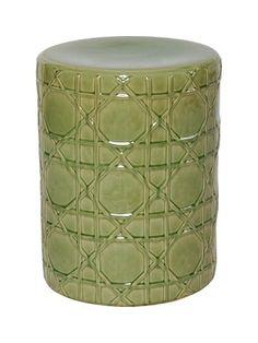 Moss Green Ceramic Cane Stool Www.finegardenproducts.com