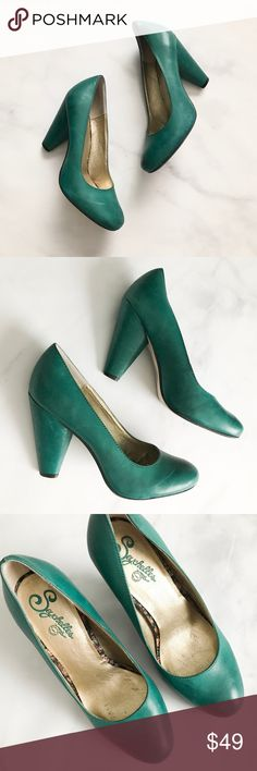 "Seychelles Password Pump in Teal Stunning teal colored pumps from Seychelles. Style is the 'Password' Pump. Size 7. Great pre-loved condition. Some minor marks (see last pic) but still tons of life left. The marks are expected for this type of leather as it has an 'antique finish.' Minor wear on the bottoms. Footbed in great condition. --------- Conical wrapped heel lifts an endlessly versatile pump with a clean, vintage-inspired silhouette. Cushioned footbed. Approx. heel: 3 1/2"". Leather…"