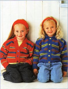 "childrens striped cardigans knitting pattern pdf download crop or collared jacket 20-30"" chunky bulky 12 ply childrens knitting pattern pdf by Minihobo on Etsy"