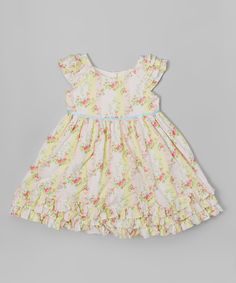 Look at this Laura Ashley London Pink & Yellow Floral Ruffle Dress - Infant, Toddler & Girls on #zulily today!