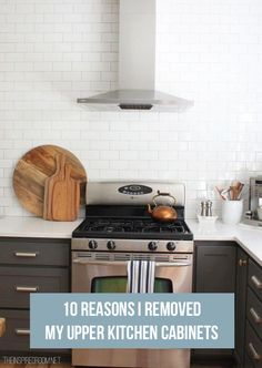 Part of my dream kitchen in the formerly known as my living room space! I prefer drawers too! - 10 Reasons I Removed My Upper Kitchen Cabinets - The Inspired Room Kitchens Without Upper Cabinets, New Kitchen Cabinets, Kitchen Redo, Kitchen Dining, Kitchen Ideas, Gray Cabinets, Kitchen Utensils, Kitchen Designs, Kitchen Without Wall Cabinets