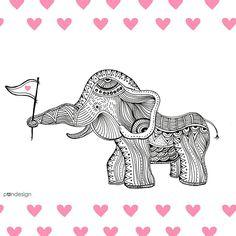 - Pandesign Studio om Instagram: 🐘💗 #elephant #illustration  Moran Bazaz